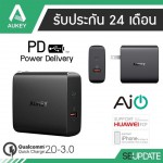 Adaptor ที่ชาร์จ Aukey 2 Port USB C Wall Charger with Quick Charge 3.0 and Power Delivery 2.0 (30W)