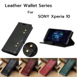 เคสหนัง SONY Xperia 10 Crazy Horse Leather Wallet 360 Luxury Flip Case