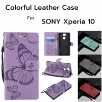 เคสหนังฝาพับ SONY Xperia 10 The Butterfly Colorful Leather Case
