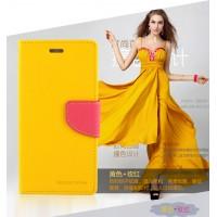 เคสหนัง Xperia X Mercury Goospery Diary Leather Case - สีเหลือง-ชมพู