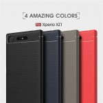 เคส Xperia XZ1 Carbon Fiber Metallic 360 Protection TPU Case