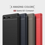 เคส Xperia XZ1 Compact Carbon Fiber Metallic 360 Protection TPU Case
