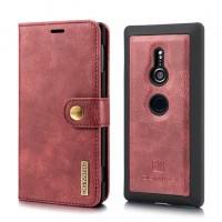 เคสหนังแท้ฝาพับ 2 in 1 Xperia XZ2 DG.MING Leather Wallet Shell : สีแดง