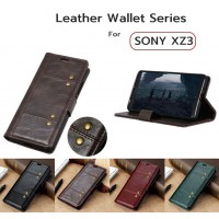 เคสหนัง Xperia XZ3 Crazy Horse Leather Wallet 360 Luxury Flip Case