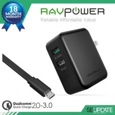 [ของแท้] Adaptor ที่ชาร์จ RAVPower 30W Dual Port Wall Charger for Qualcomm Quick Charge 3.0 (QC 3.0 + QC 2.0) + แถมสาย RAVPower USB