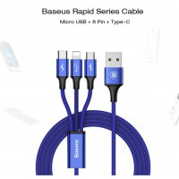 สายชาร์จ 3 in 1 BASEUS Rapid Series cable for iP+Micro+Type-C