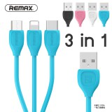 สายชาร์จ 3 in 1 REMAX LESU iPhone/Micro/Type-C Cable
