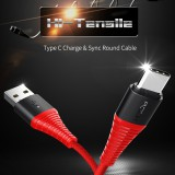 สายชาร์จ/ส่งข้อมูล ROCK HI-TENSILE 3A Type C Charge & Sync Round Cable (USB A to C)