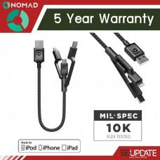 สายชาร์จ/ซิงค์แบบสั้น Nomad Ultra Rugged Universal Cable - 0.3 เมตร (รับประกัน 5 ปี)