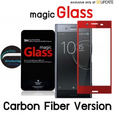 ฟิล์มกระจก  แบบเต็มจอลงโค้ง Magic Glass 3D Tempered Glass (กระจกใส) ขอบ Carbon Fiber  สำหรับ Xperia XZ Premium
