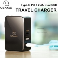 Adaptor ที่ชาร์จ USAMS 41W Travel Charger Type-C PD + 2.4A Dual Charger